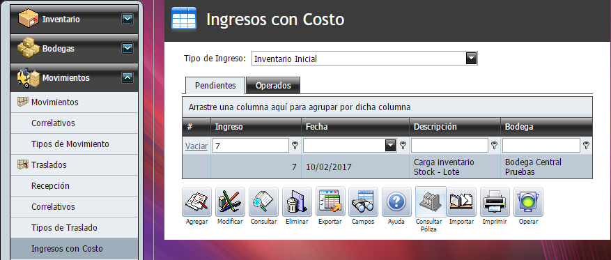 Ingreso con Costo Stock con Lote