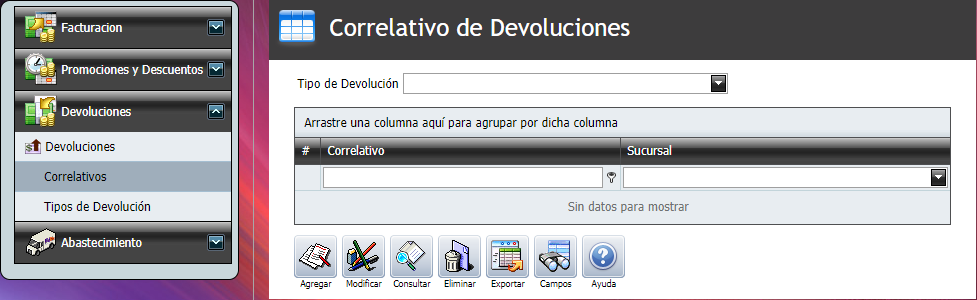 Facturacion Devolucion Correlativo