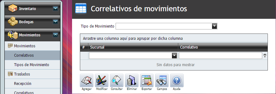 Correlativos - Tipo de Movimiento