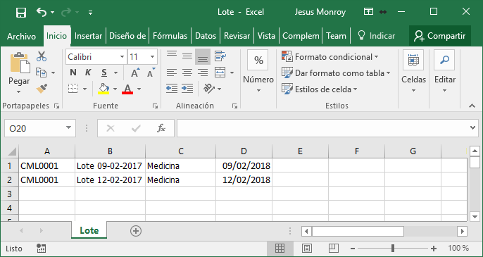 Excel CSV Lotes